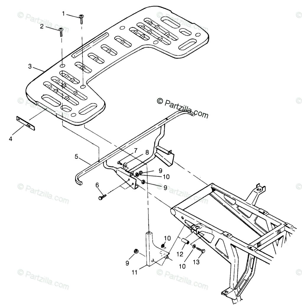 Polaris ATV 1996 OEM Parts Diagram for Rear Rack Mounting
