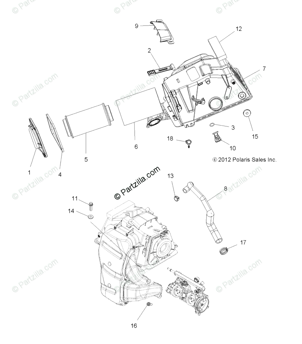 Polaris ATV 2014 OEM Parts Diagram for Engine Air Intake
