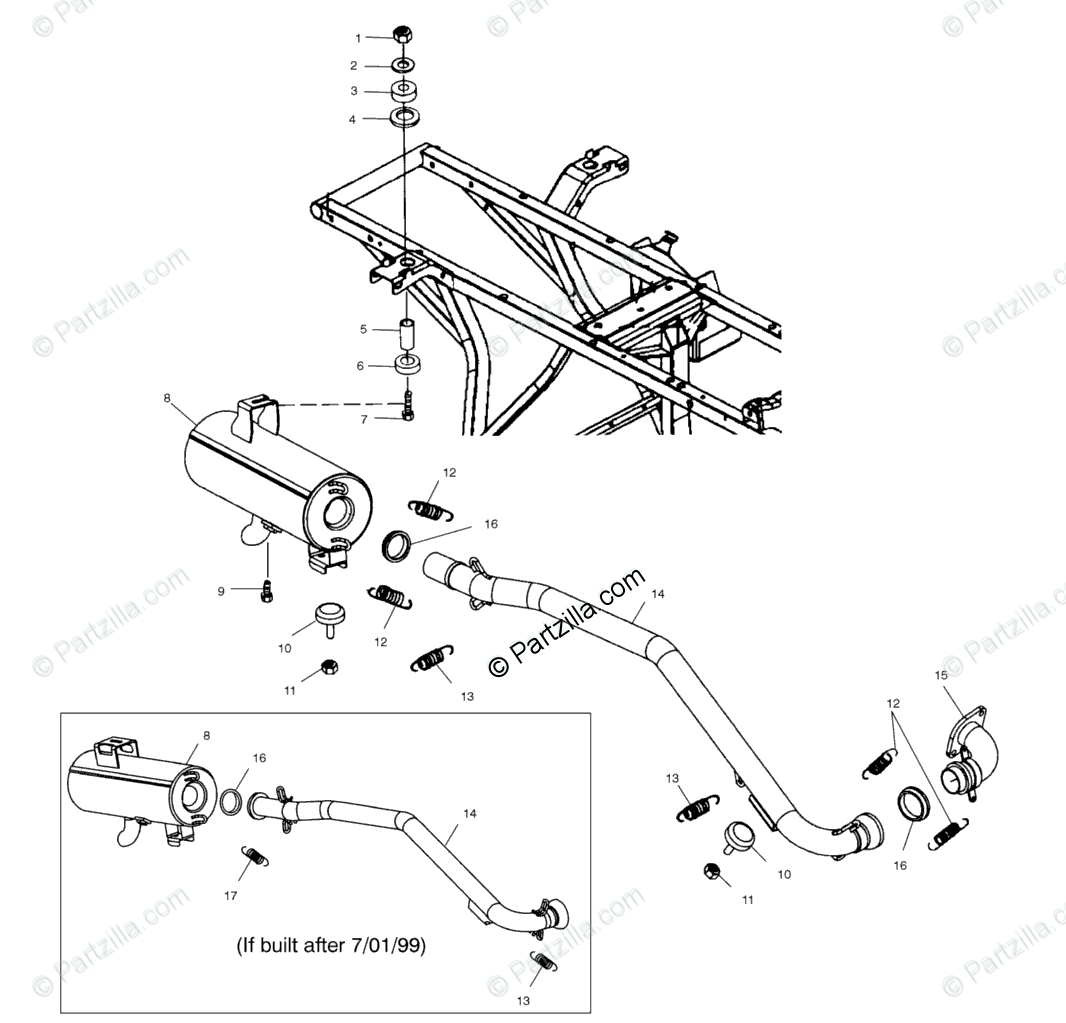 Polaris ATV 2000 OEM Parts Diagram for Exhaust System