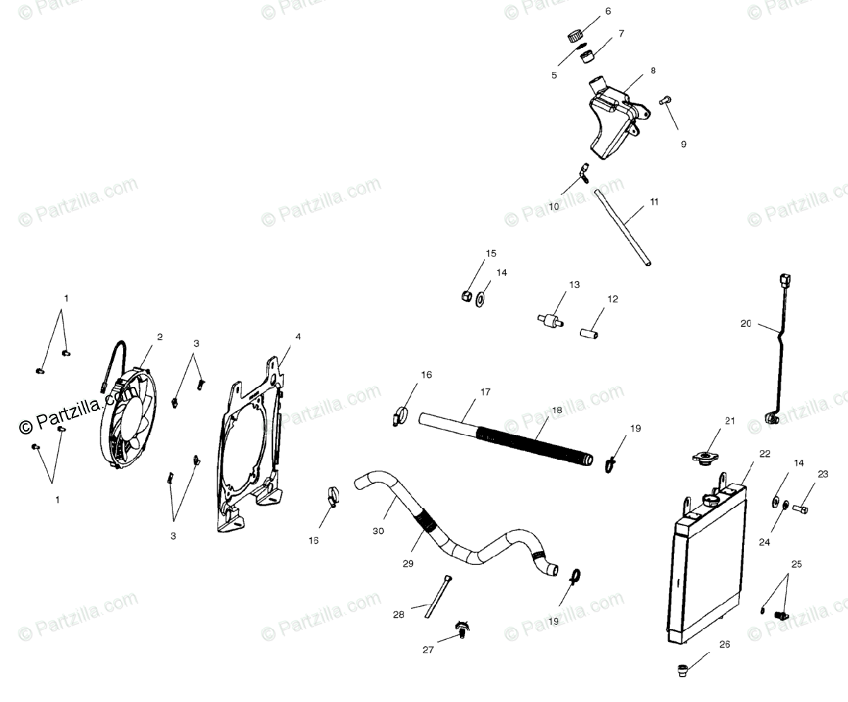 Polaris ATV 2001 OEM Parts Diagram for Cooling System