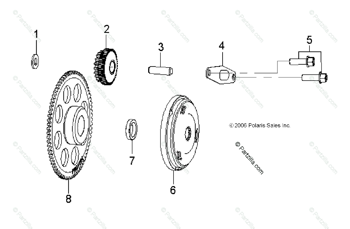 Polaris ATV 2009 OEM Parts Diagram for Engine, Starter