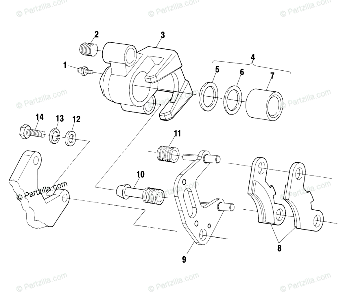 Polaris ATV 2000 OEM Parts Diagram for Front Brake