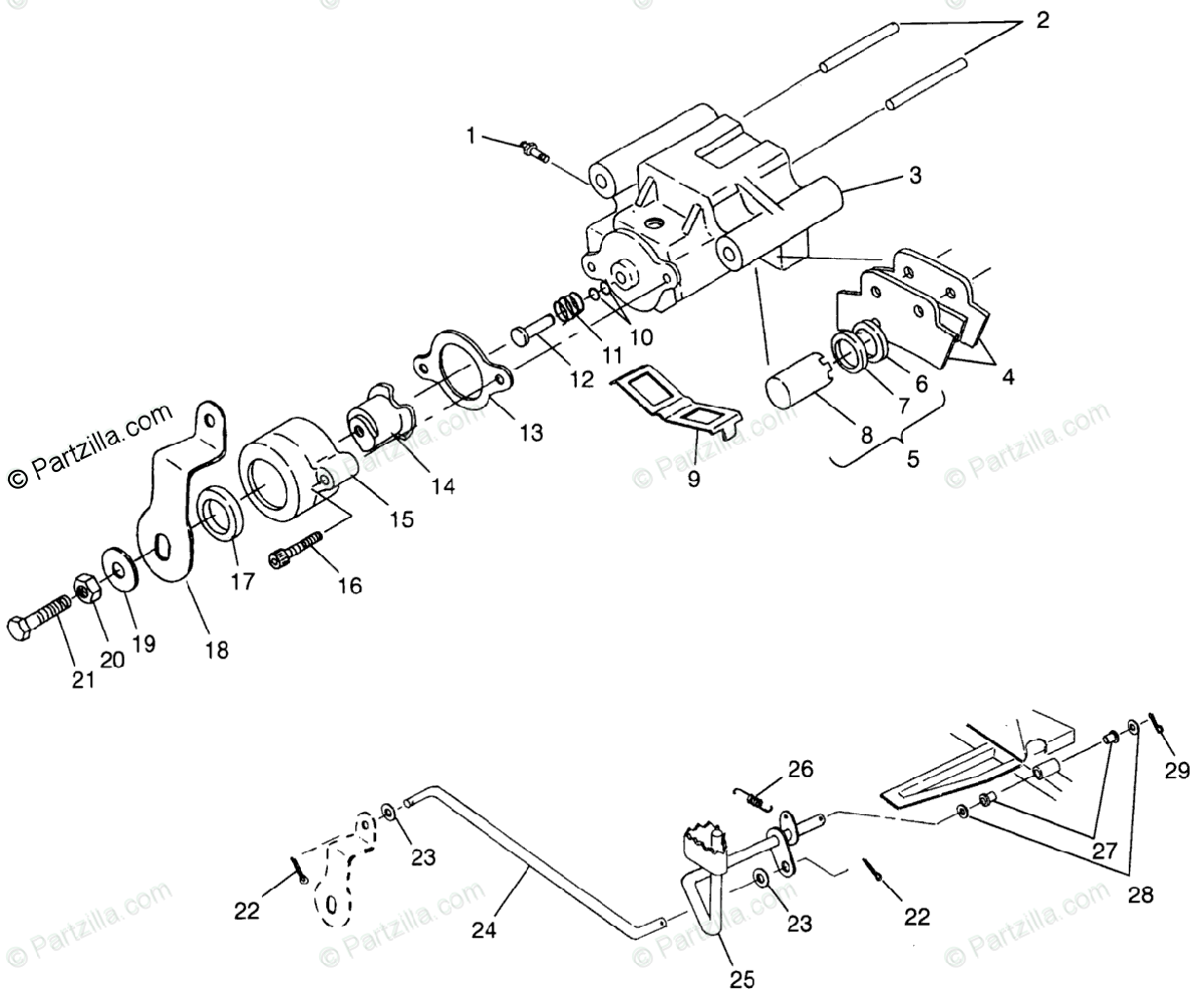 Polaris ATV 1996 OEM Parts Diagram for Rear Brake Xplorer