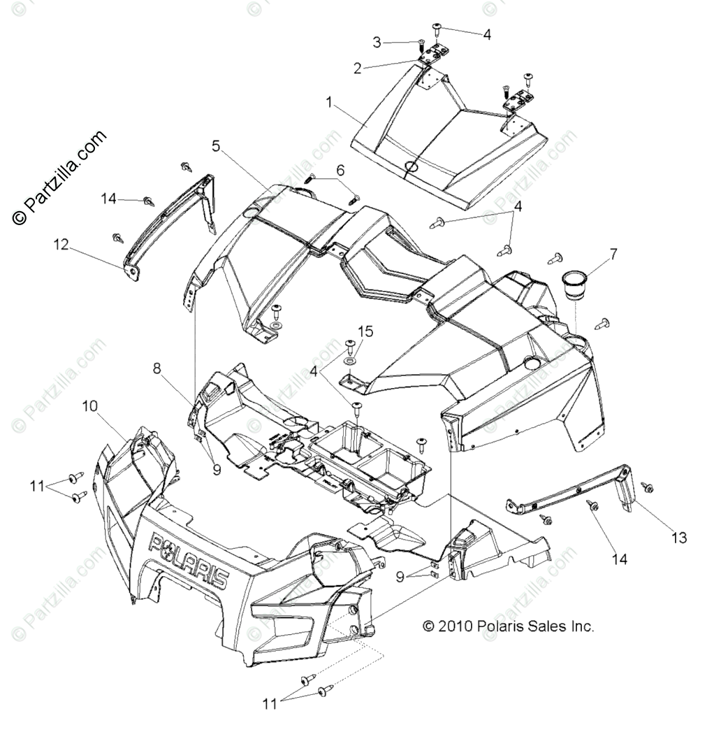 Polaris Side by Side 2013 OEM Parts Diagram for Body, Hood