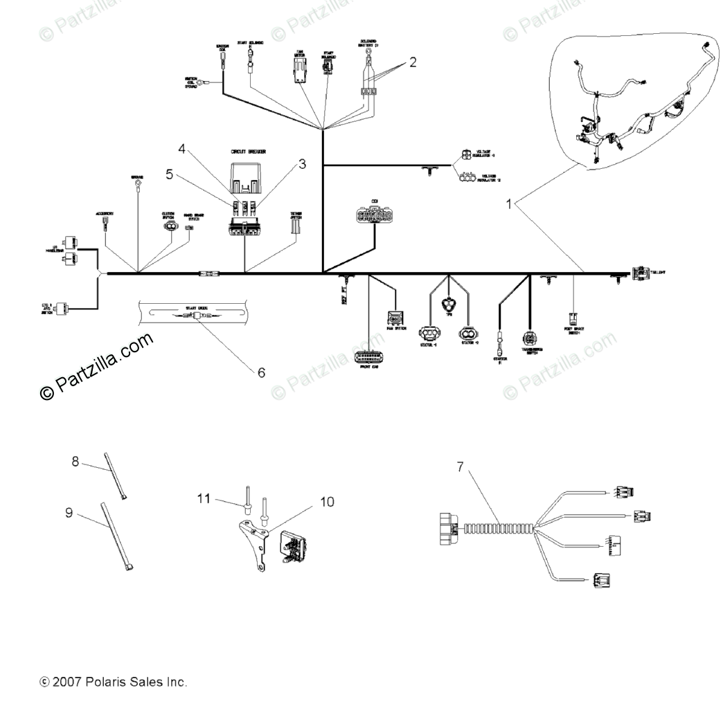 Polaris ATV 2008 OEM Parts Diagram for Electrical, Wire