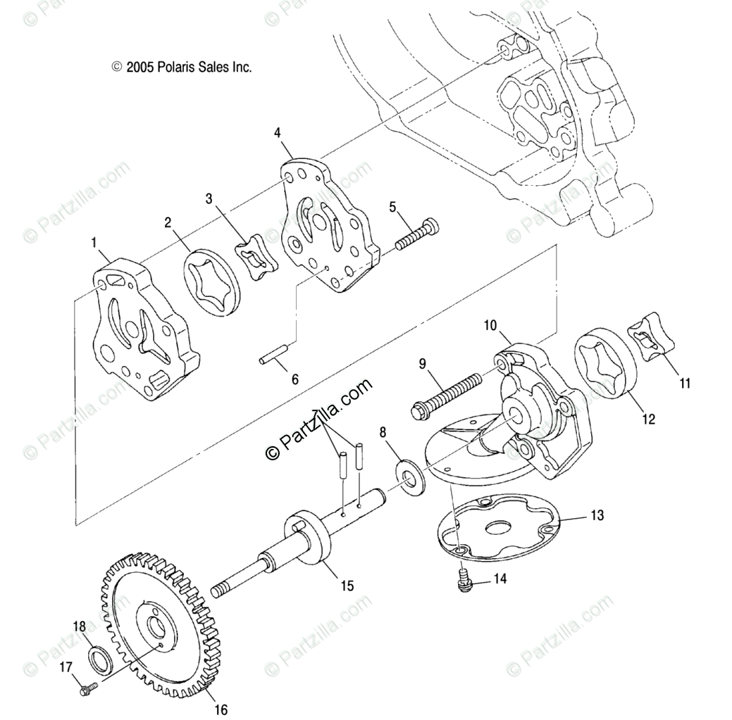 Polaris ATV 2007 OEM Parts Diagram for Engine, Oil Pump