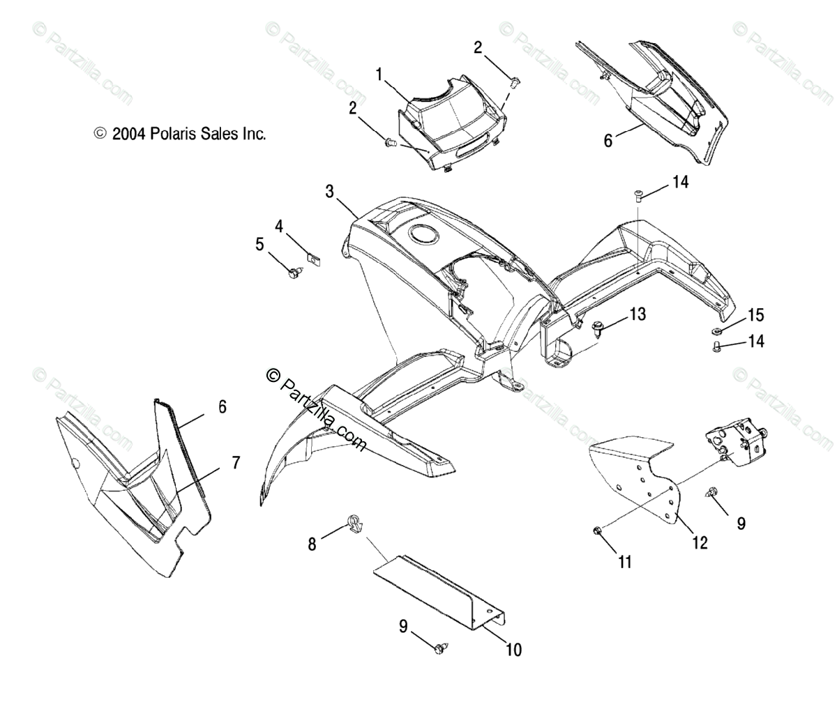 Polaris ATV 2005 OEM Parts Diagram for Front Cab /Ac/Ag/Ah