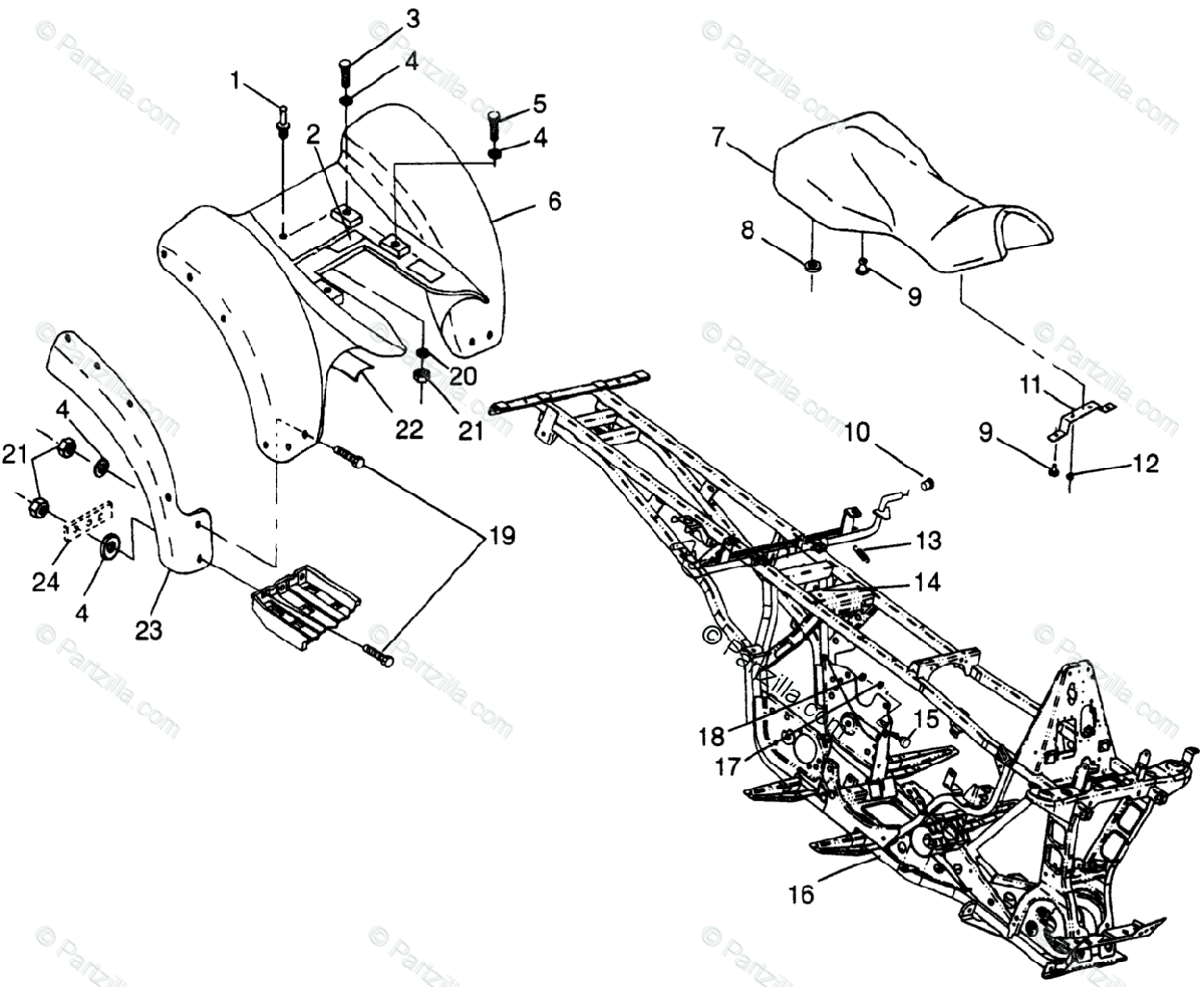 Polaris ATV 1998 OEM Parts Diagram for Rear Cab W98ae50a