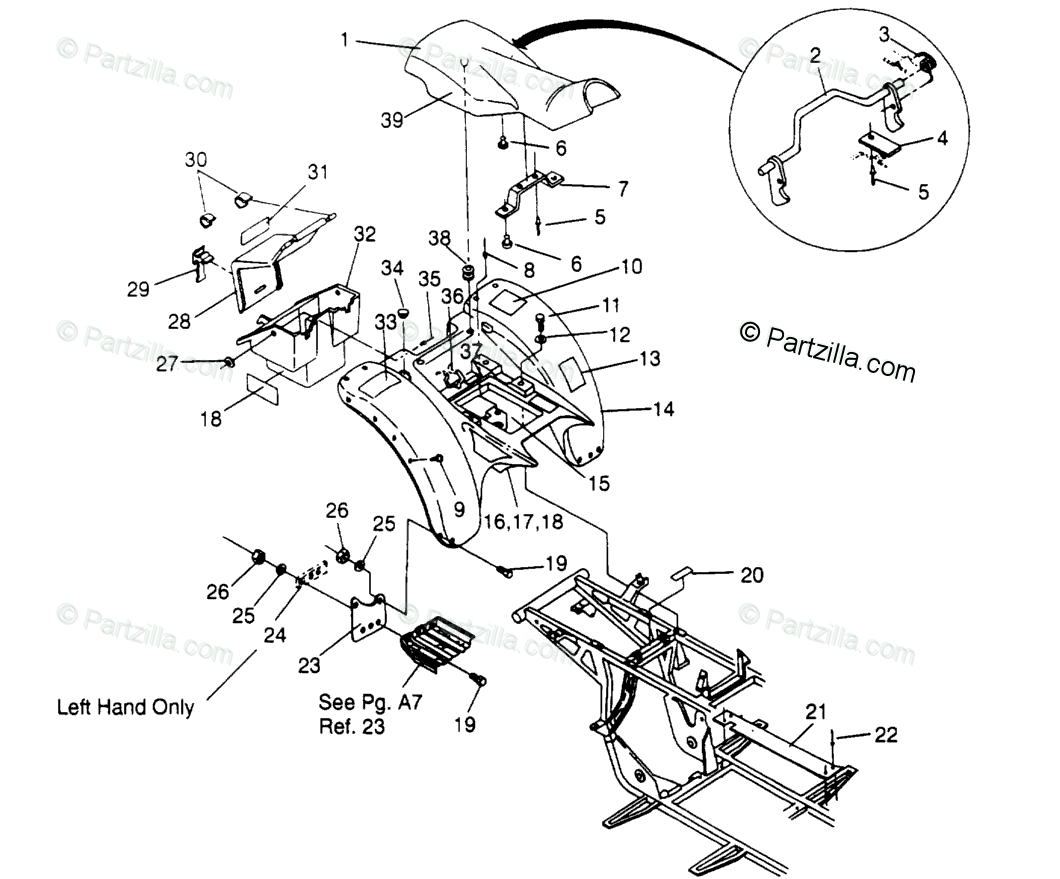 Polaris ATV 1994 OEM Parts Diagram for Rear Cab Assembly