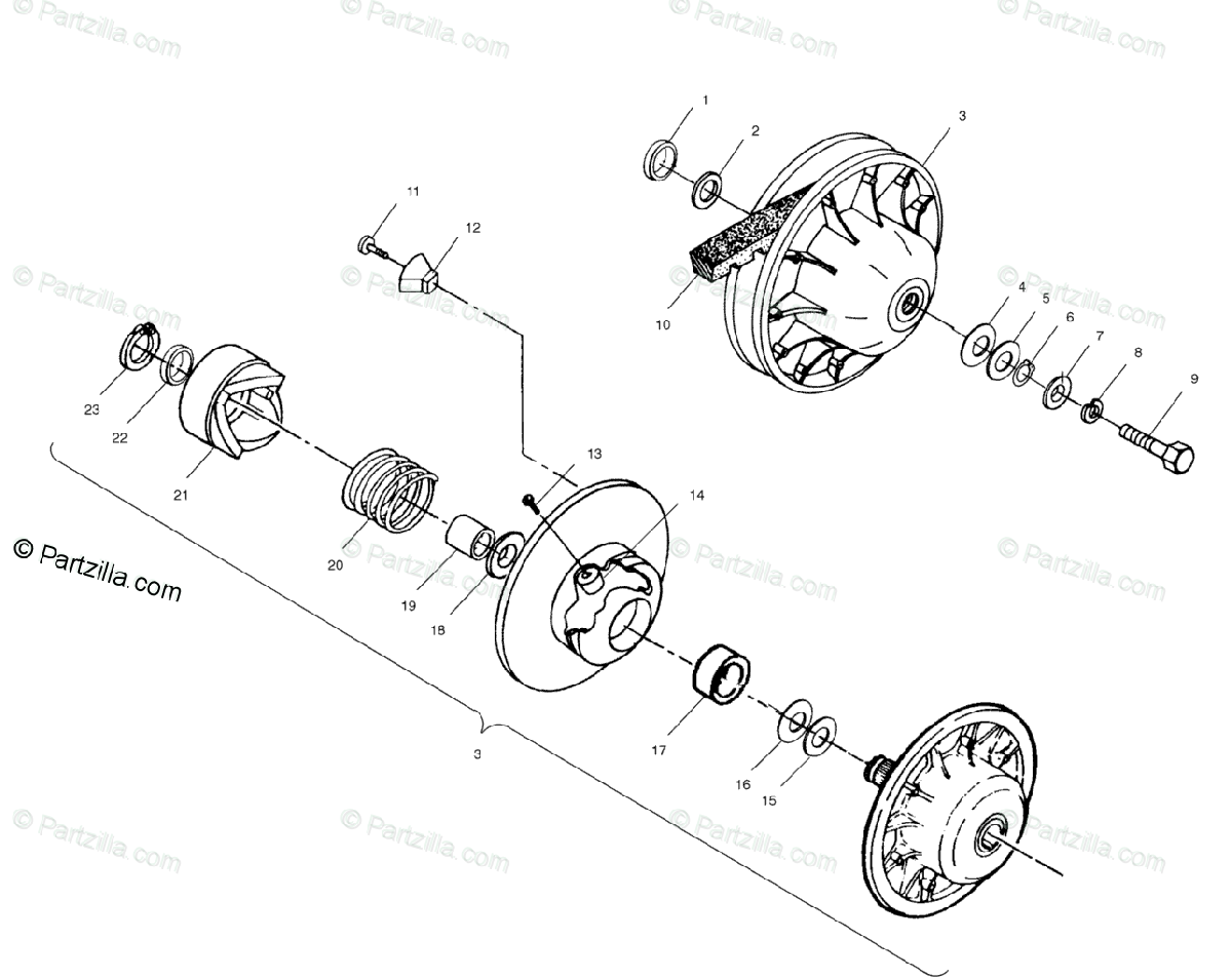 Polaris Atv Oem Parts Diagram For Driven Clutch