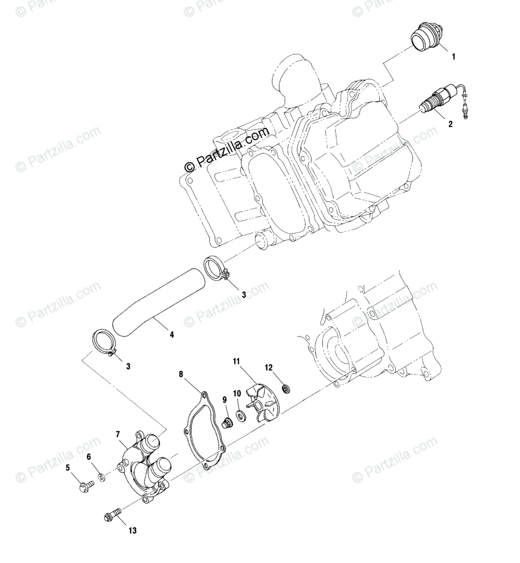 Polaris ATV 2000 OEM Parts Diagram for Water Pump