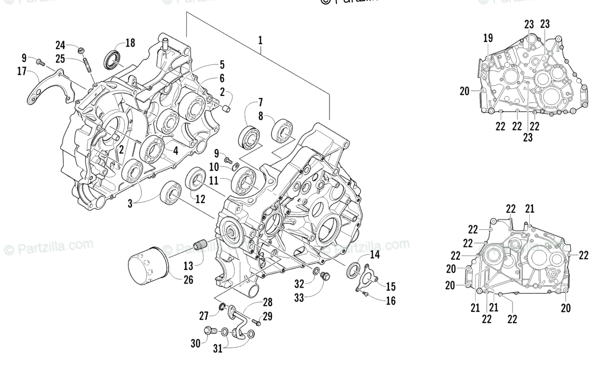 Arctic Cat ATV 2010 OEM Parts Diagram for Crankcase
