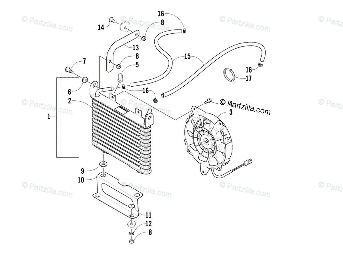 Arctic Cat ATV 2009 OEM Parts Diagram for Cooling Assembly