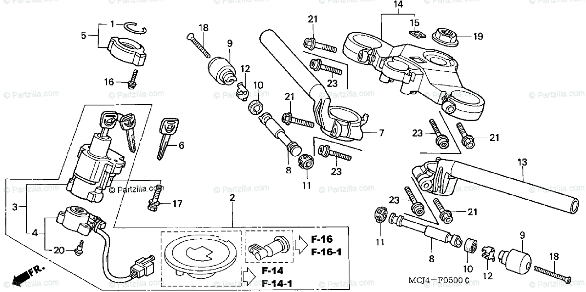 Honda Motorcycle 2002 OEM Parts Diagram for Handlebar