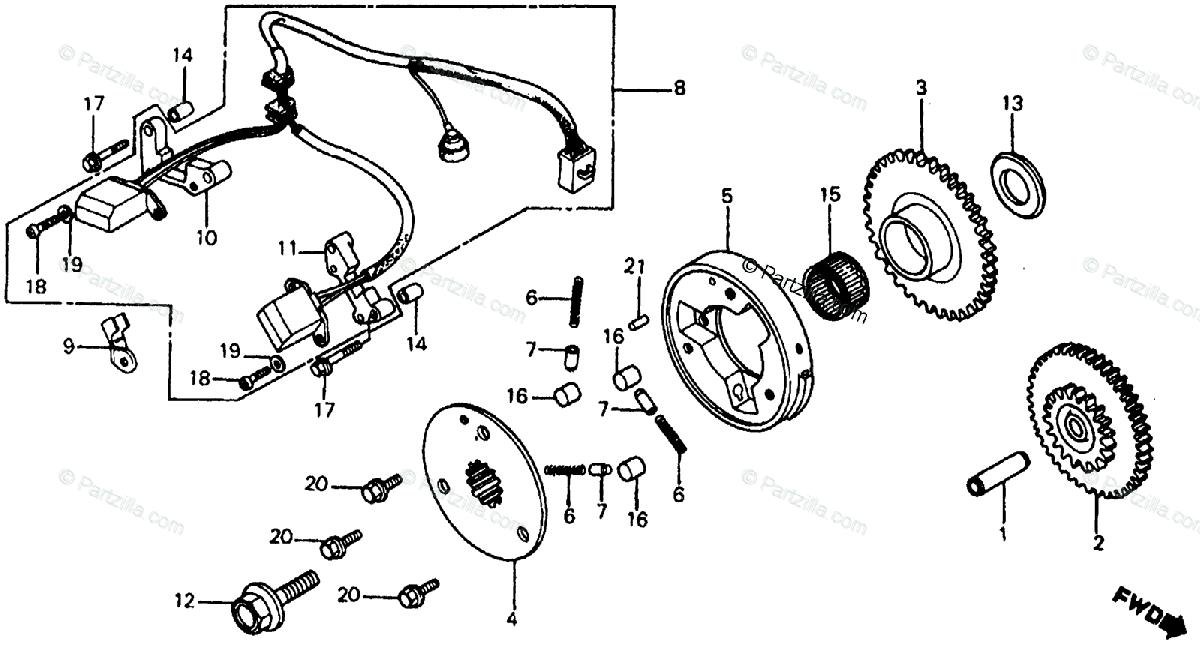 Honda Motorcycle 1984 OEM Parts Diagram for Pulse