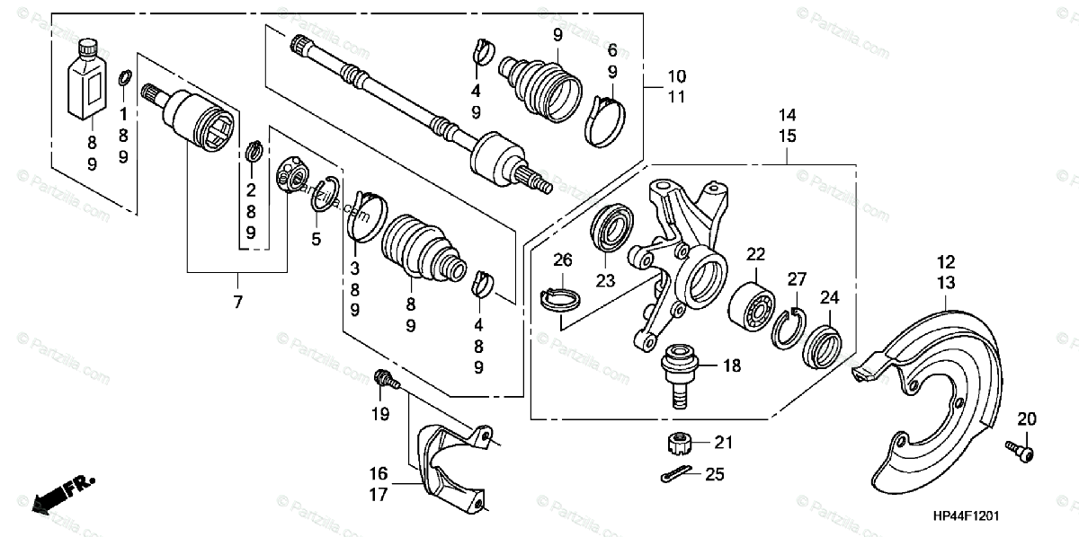 Honda ATV 2007 OEM Parts Diagram for Front Knuckle (4WD