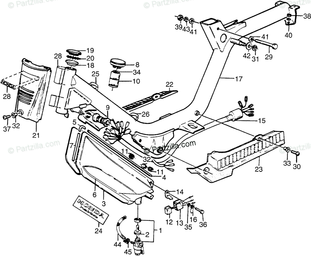 Honda Motorcycle Oem Parts Diagram For Frame Fuel