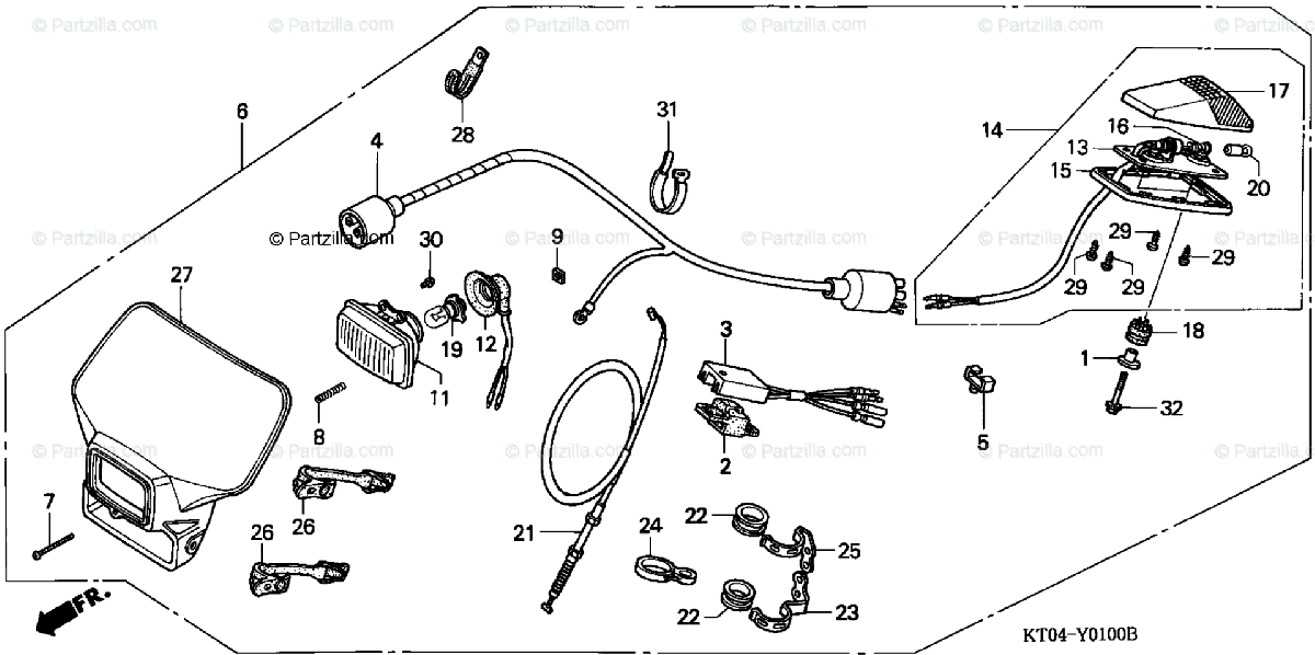 Honda Motorcycle 2001 OEM Parts Diagram for LIGHTING SET