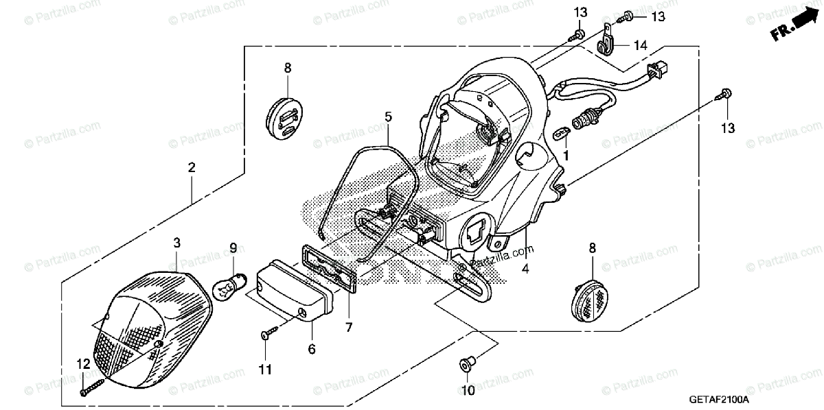 Honda Scooter 2007 OEM Parts Diagram for Taillight