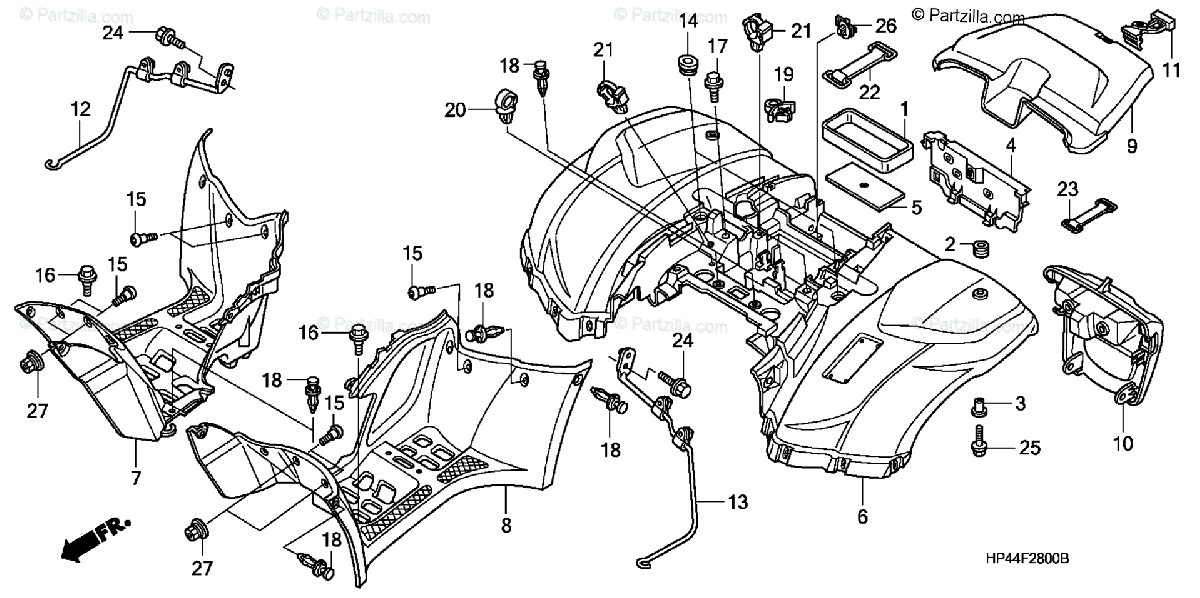 Honda ATV 2007 OEM Parts Diagram for Rear Fender