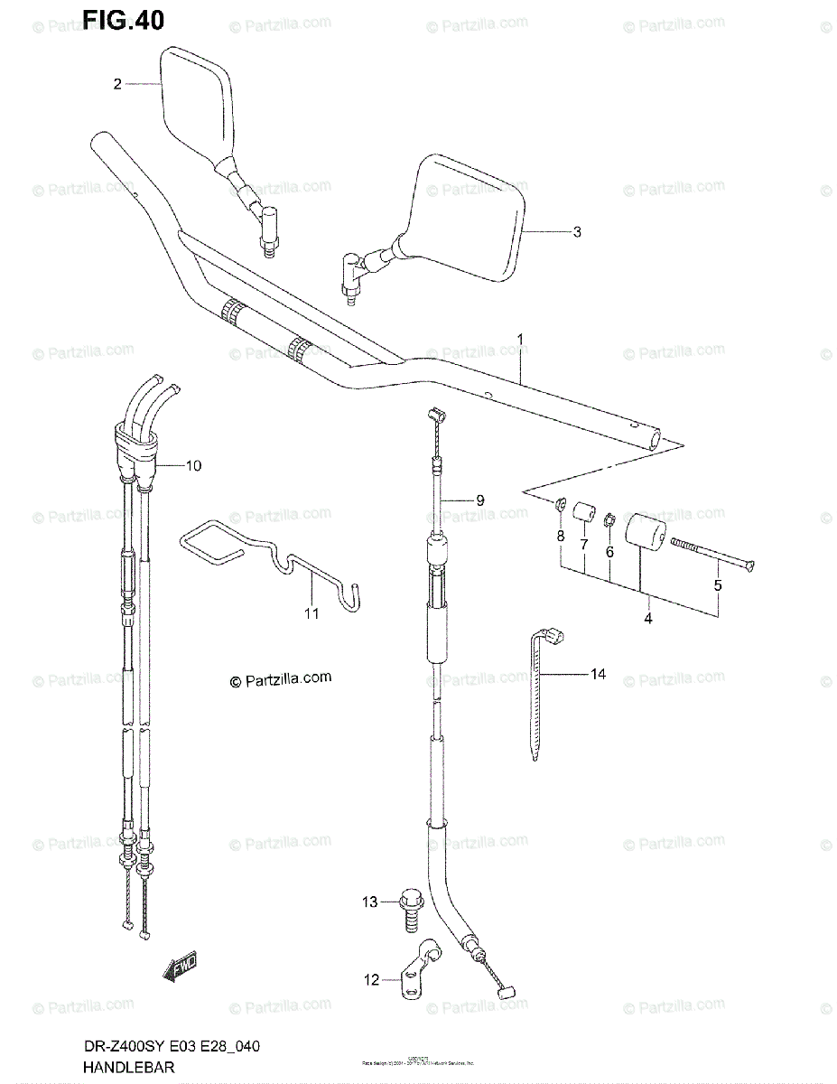 Suzuki Motorcycle 2000 OEM Parts Diagram for Handlebar