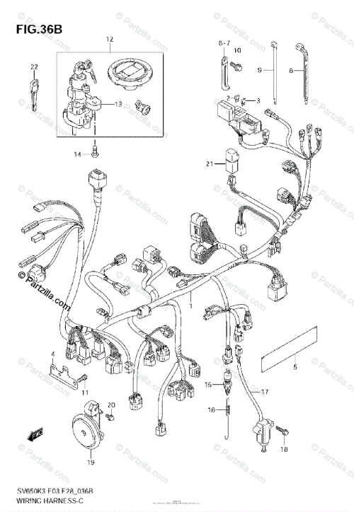 small resolution of suzuki motorcycle 2006 oem parts diagram for wiring harness sv650k7 sv650 k7 wiring diagram