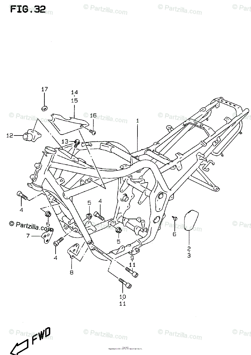 Suzuki Motorcycle 1996 OEM Parts Diagram for FRAME (MODEL