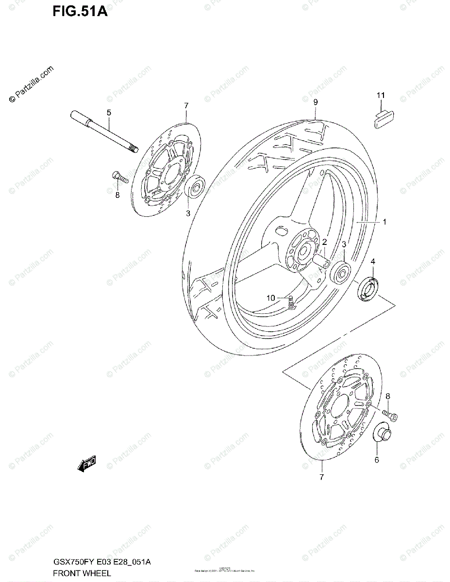 Suzuki Motorcycle 2003 OEM Parts Diagram for FRONT WHEEL