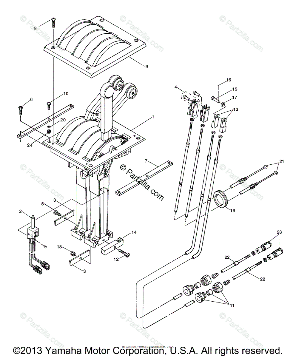 Yamaha Boat 2003 OEM Parts Diagram for REMOTE CONTROL