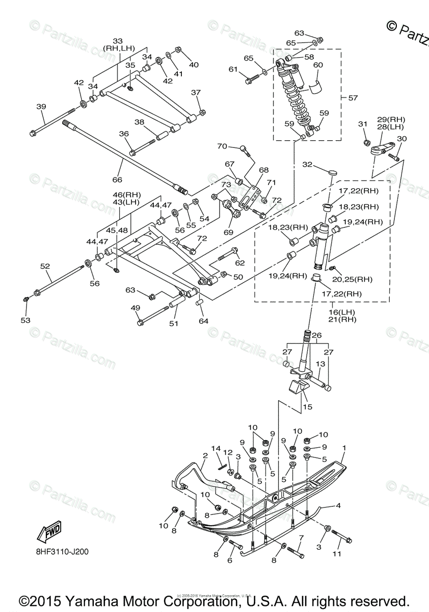 Yamaha Snowmobile 2010 OEM Parts Diagram for SKI