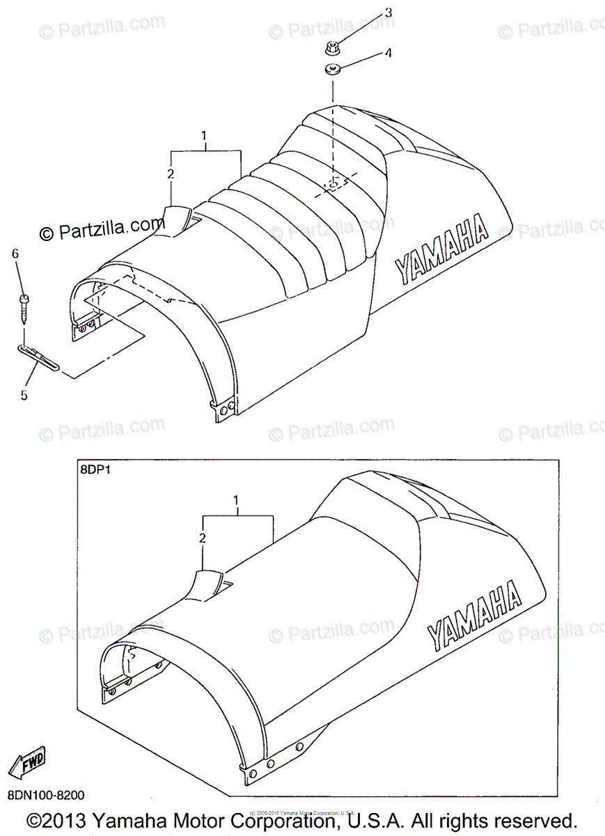 Yamaha Snowmobile 1998 OEM Parts Diagram for Seat