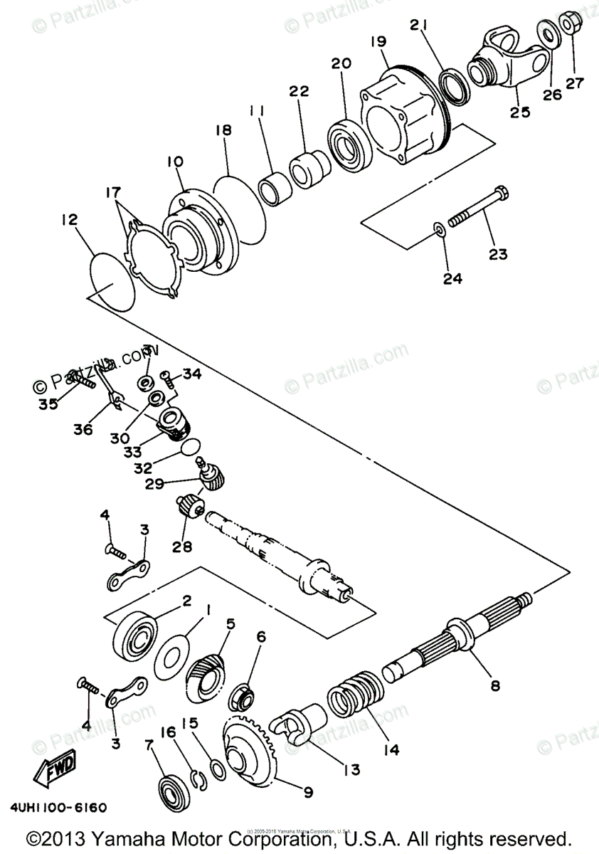 Yamaha ATV 1997 OEM Parts Diagram for Middle Drive Gear