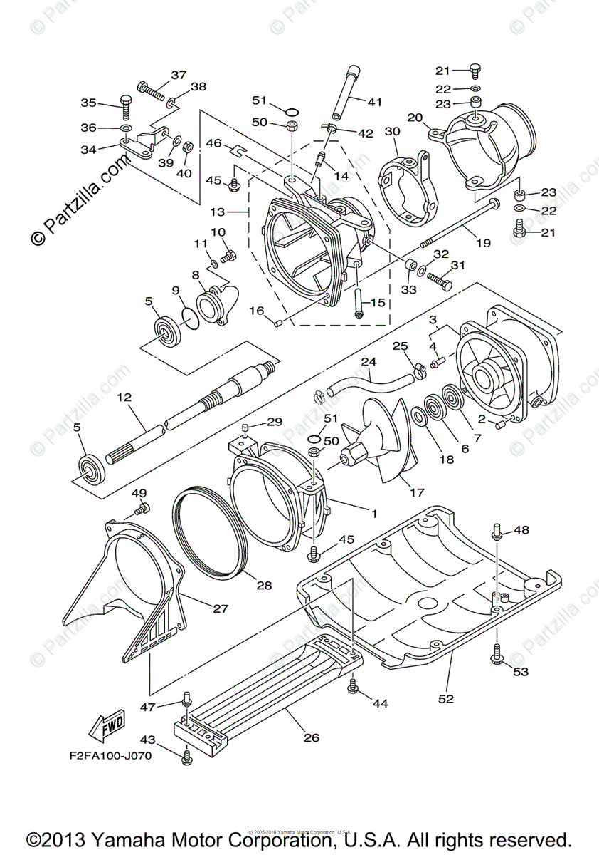 Yamaha Waverunner 2014 OEM Parts Diagram for Jet Unit 1