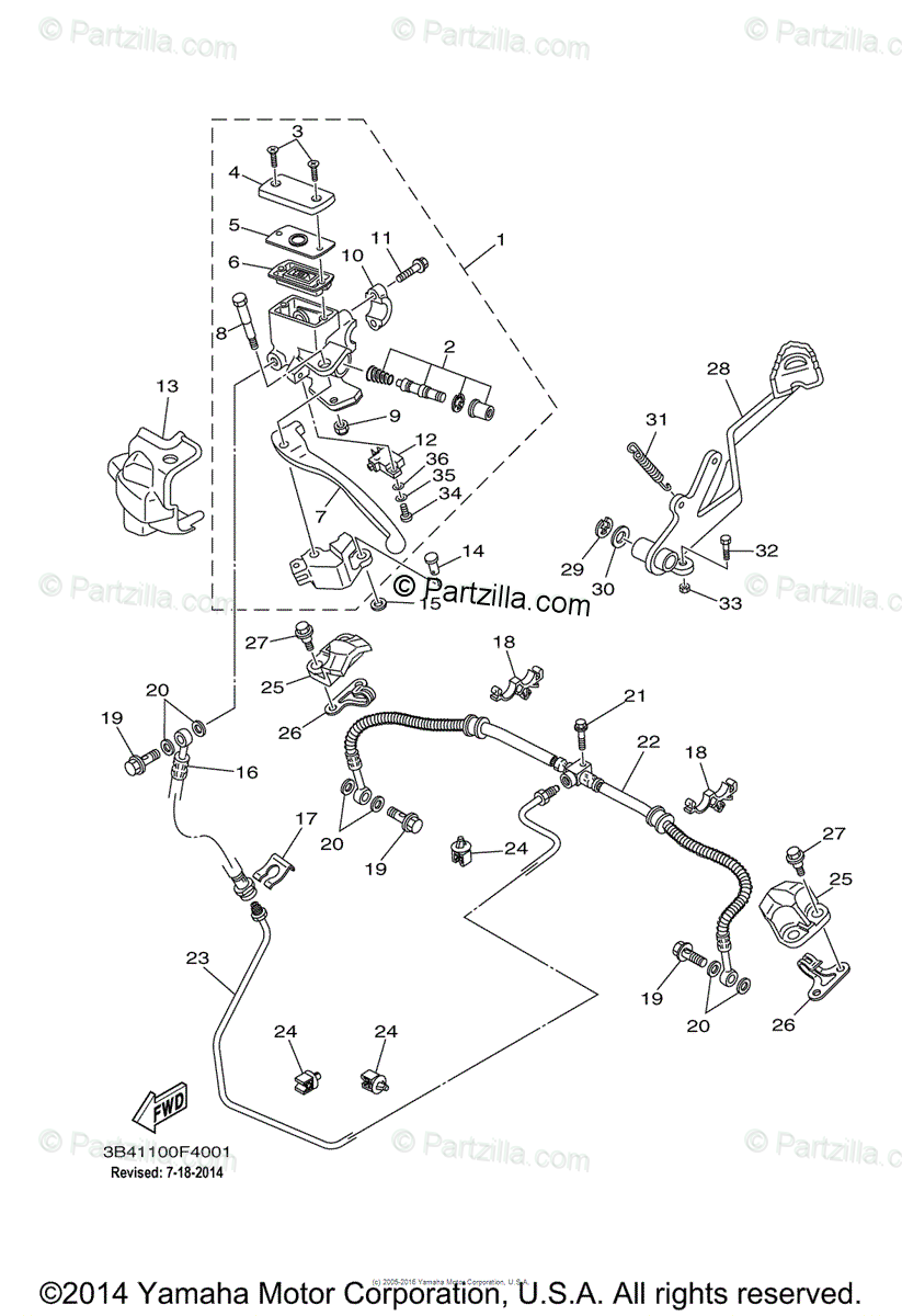 Yamaha ATV 2008 OEM Parts Diagram for Rear Master Cylinder