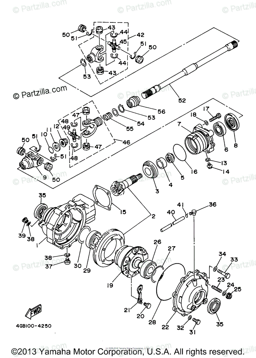 Yamaha ATV 1997 OEM Parts Diagram for Front Differential