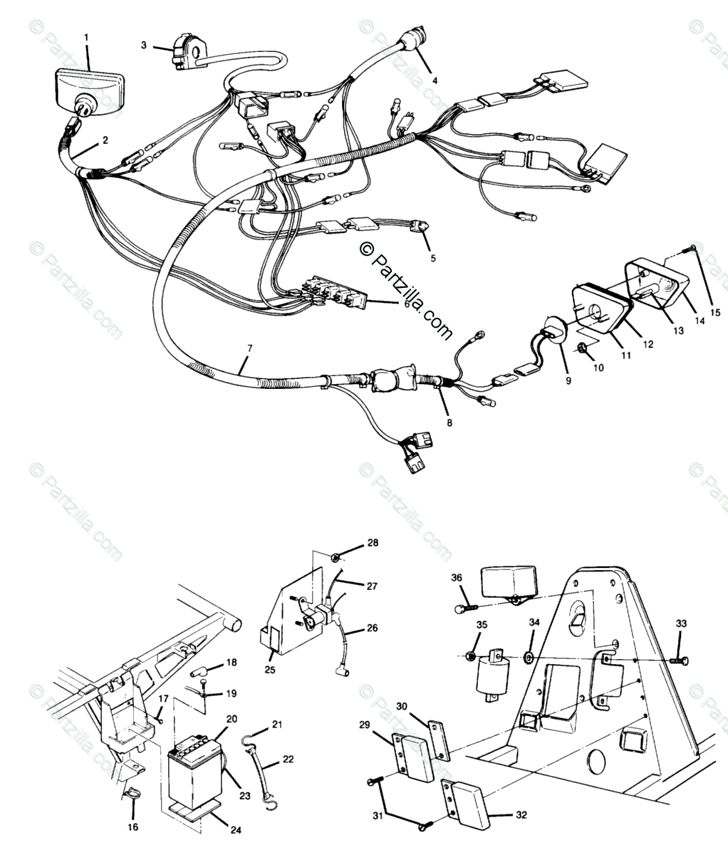 Polaris ATV 1988 OEM Parts Diagram for Wiring Harness