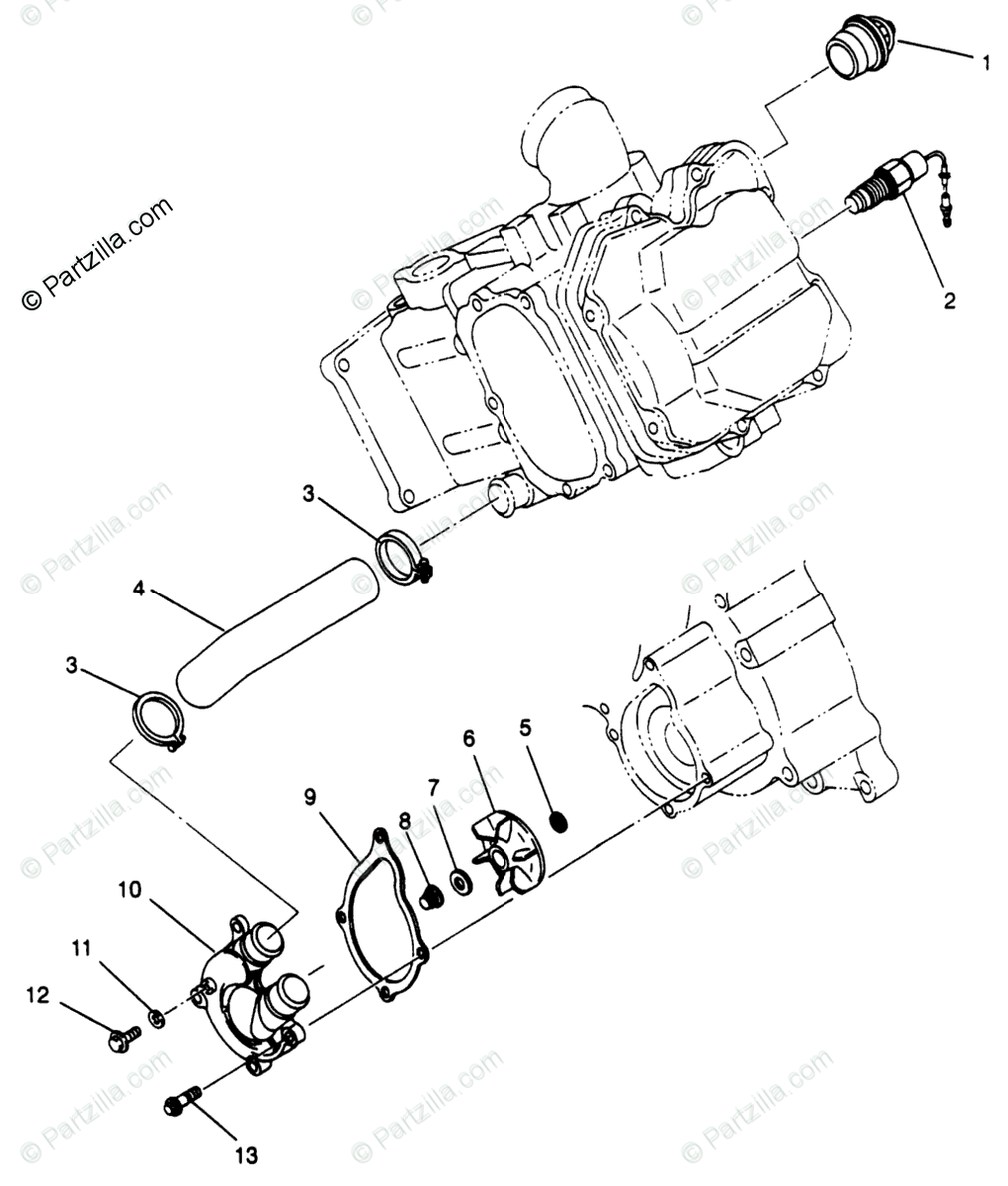 Polaris ATV 1996 OEM Parts Diagram for Water Pump
