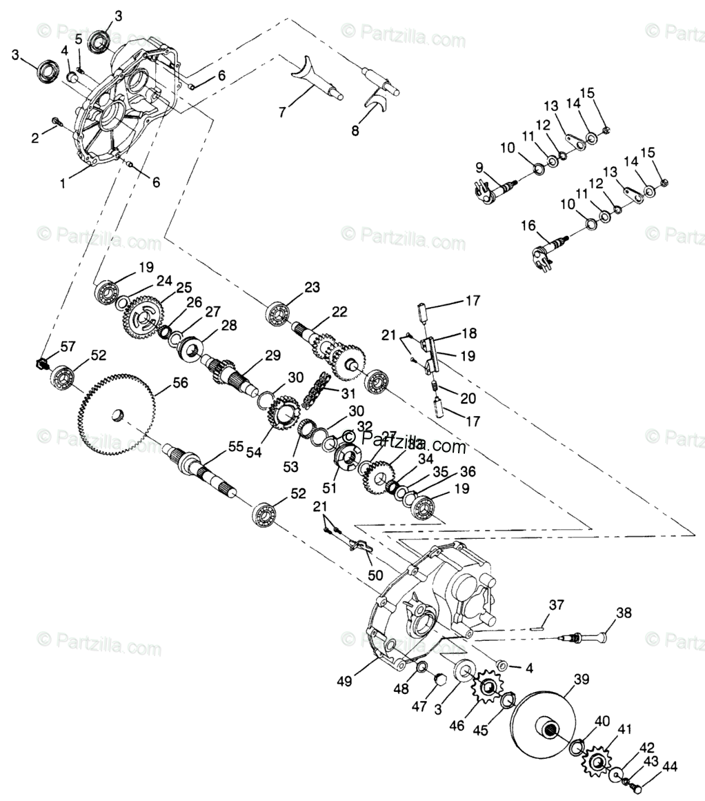 Polaris ATV 1998 OEM Parts Diagram for Gearcase N98ae50d