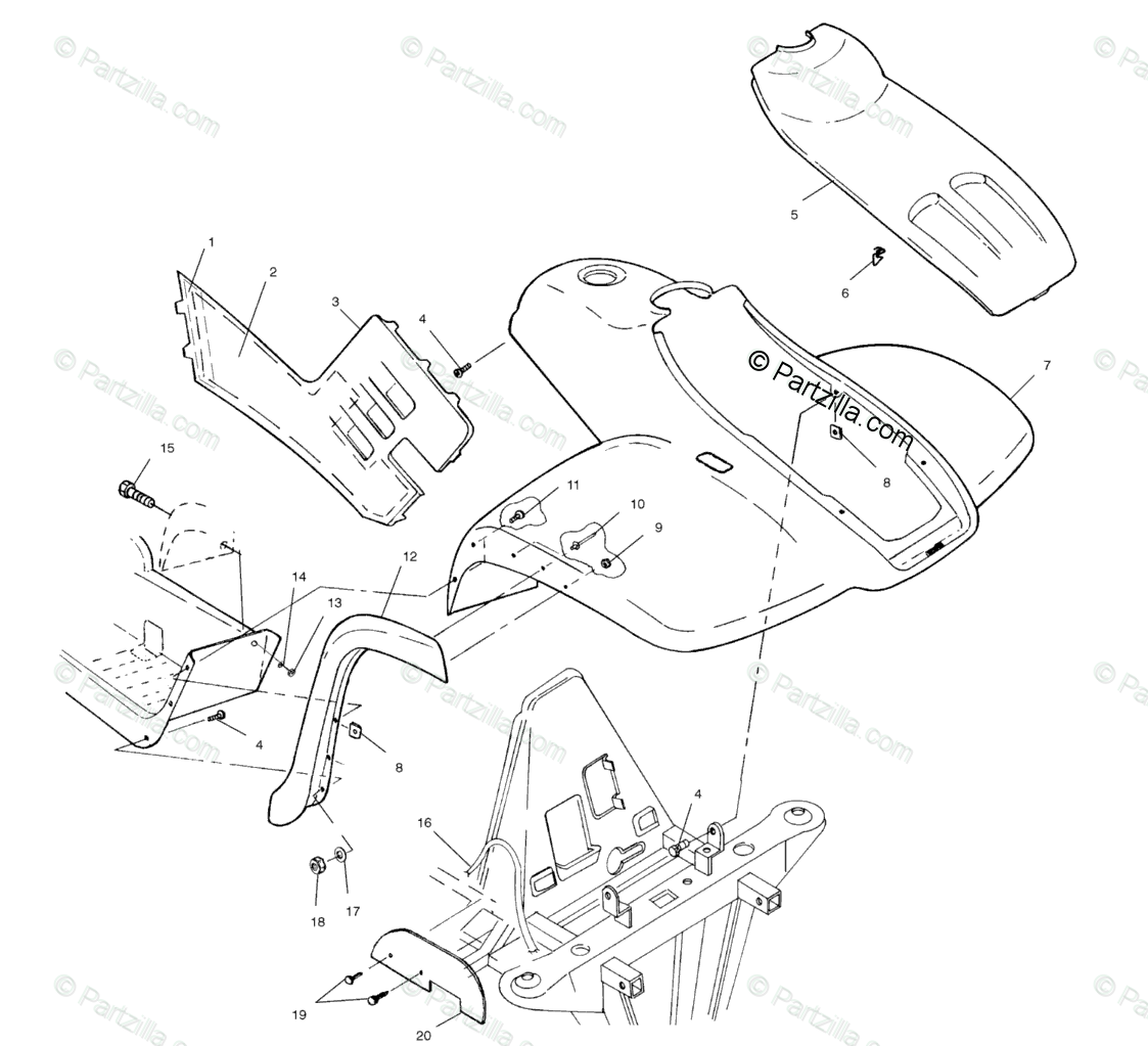 Polaris ATV 2000 OEM Parts Diagram for Front Cab A00cd50aa