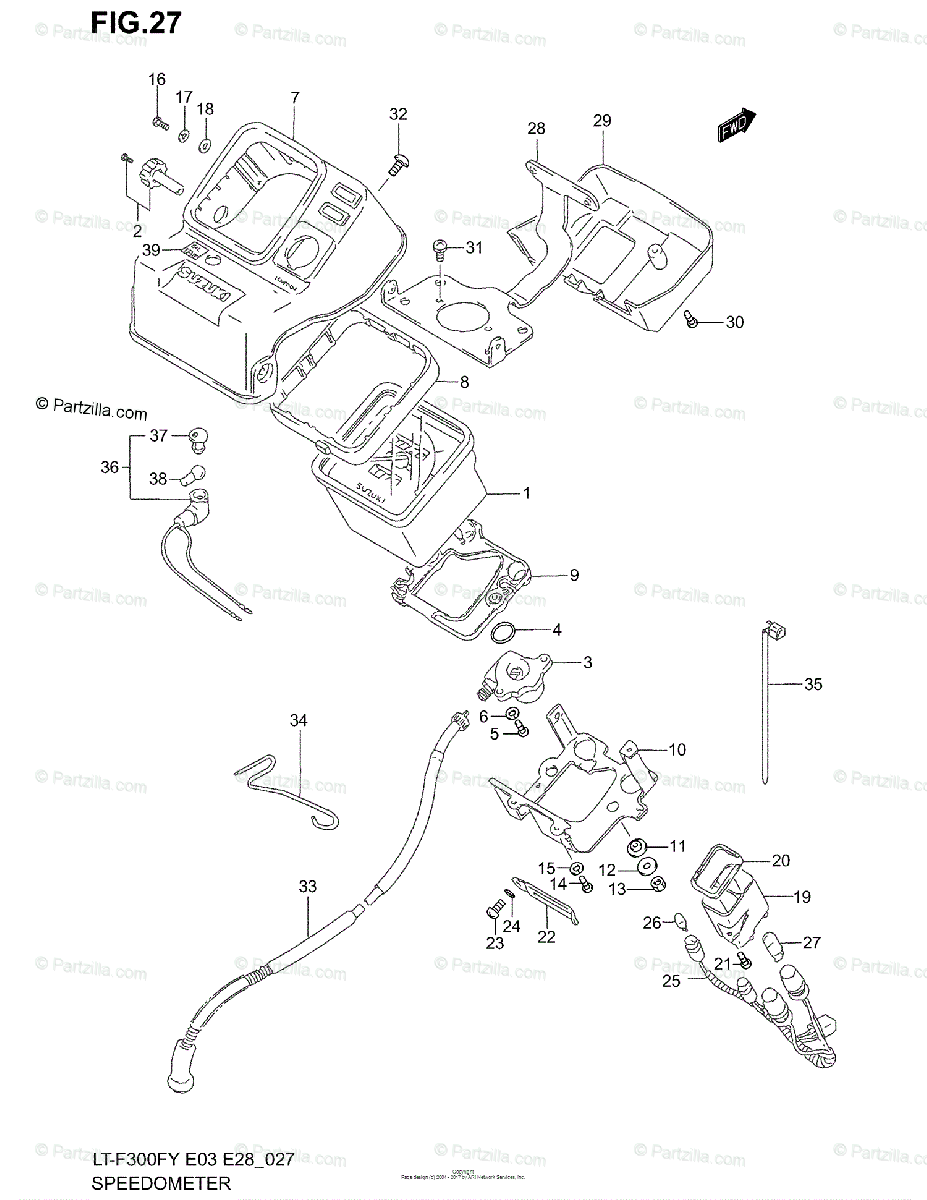 Suzuki ATV 2000 OEM Parts Diagram for Speedometer
