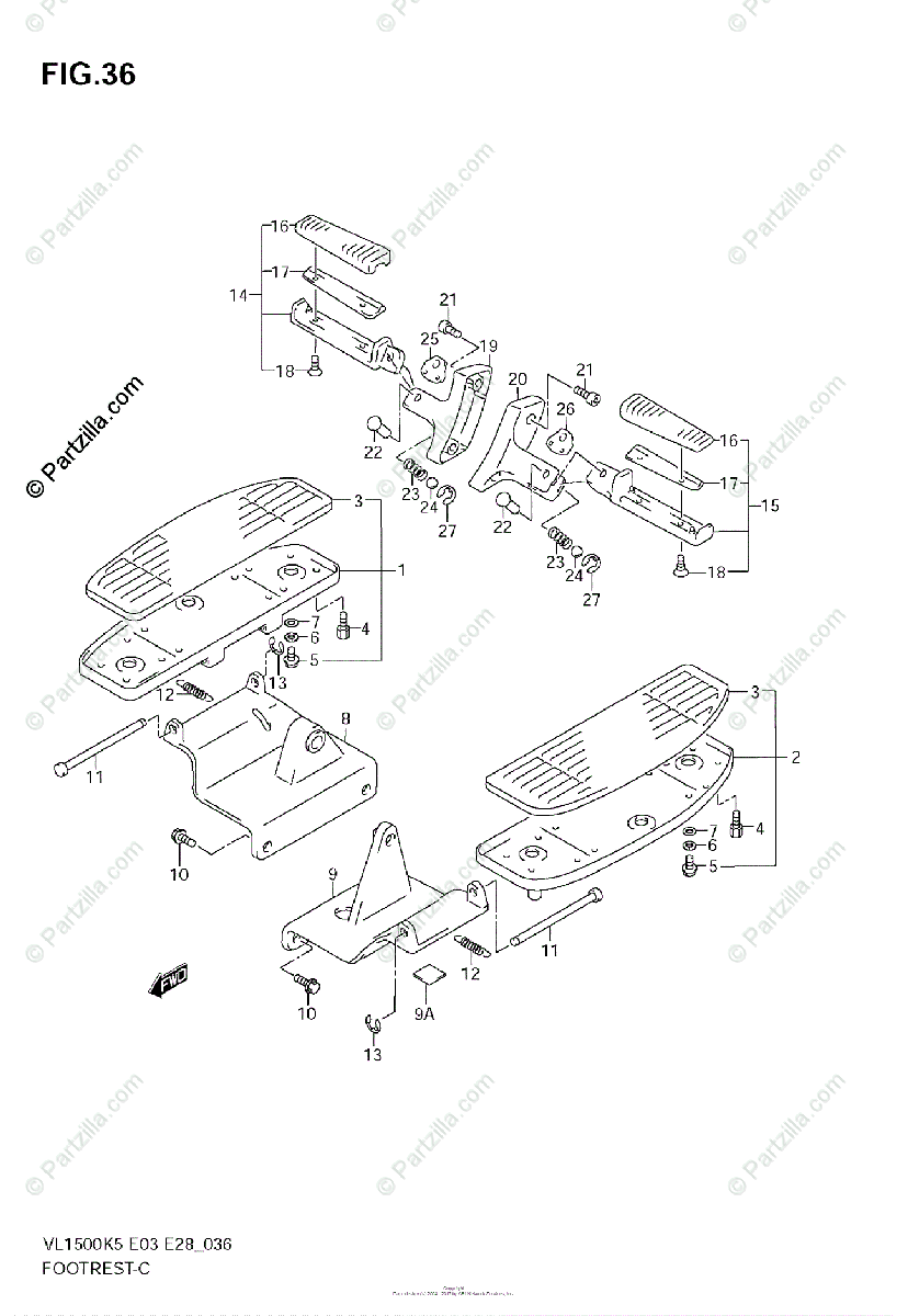 Suzuki Motorcycle 2006 OEM Parts Diagram for Footrest