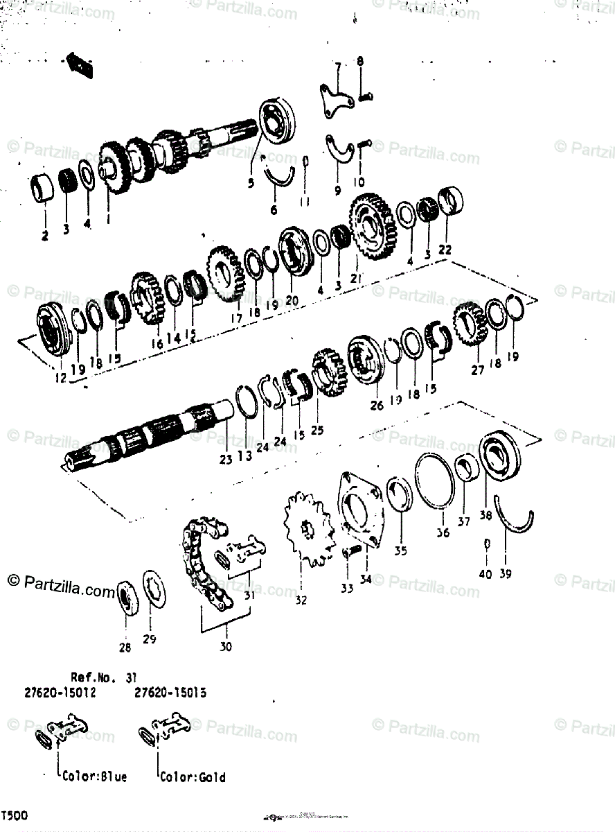 Suzuki Motorcycle 1973 OEM Parts Diagram for Transmission