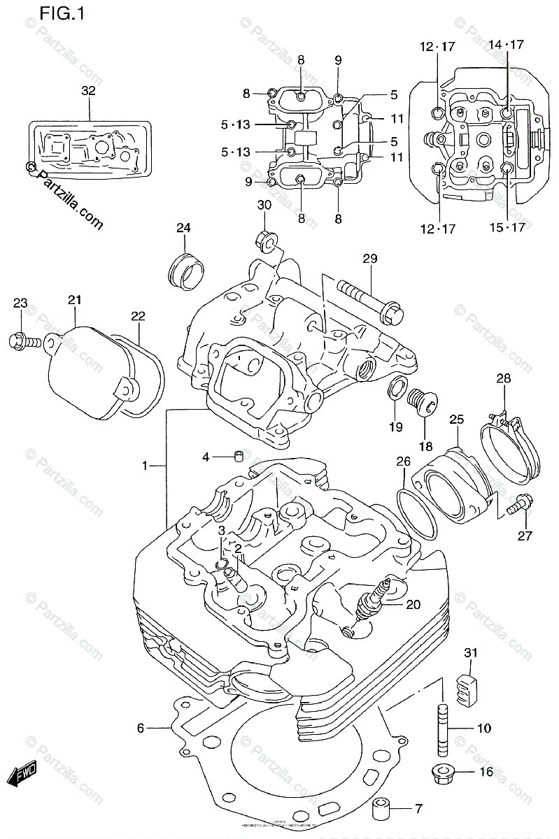 Suzuki Motorcycle 1996 OEM Parts Diagram for Cylinder Head