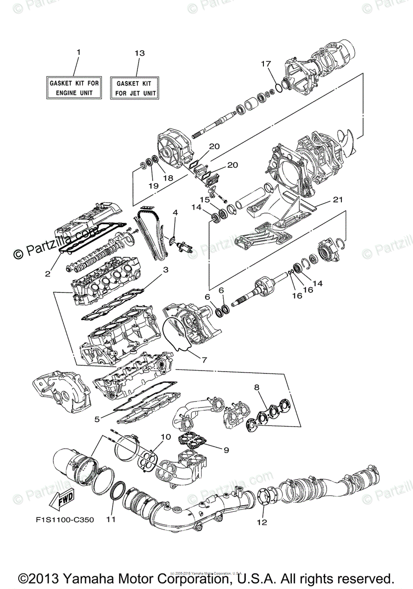 Yamaha Waverunner 2005 OEM Parts Diagram for Repair Kit 1