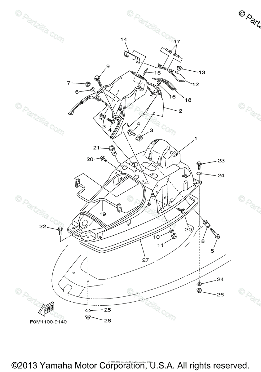 Yamaha Waverunner 2000 OEM Parts Diagram for Engine Hatch