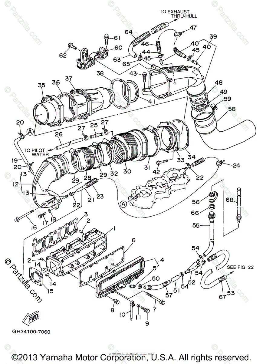 Yamaha Waverunner 1997 OEM Parts Diagram for Exhaust (1