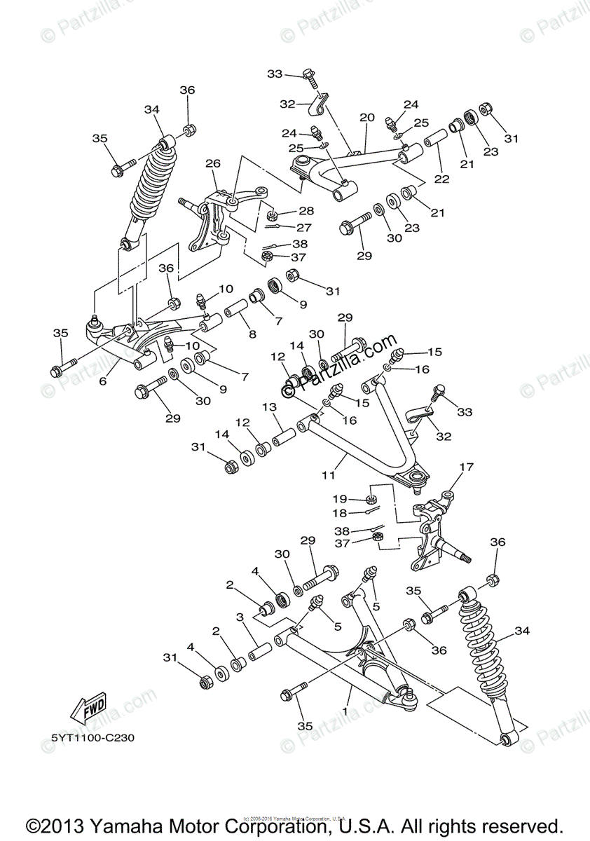Yamaha ATV 2006 OEM Parts Diagram for Front Suspension