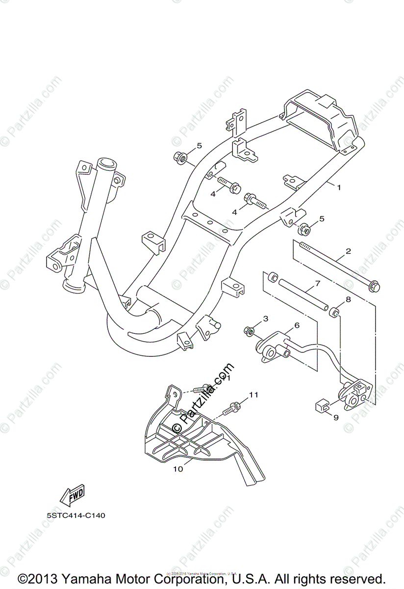 Yamaha Scooter 2006 OEM Parts Diagram for Frame