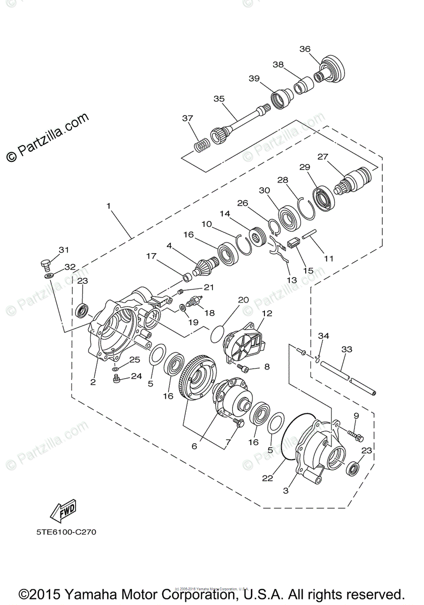 Yamaha ATV 2014 OEM Parts Diagram for Front Differential