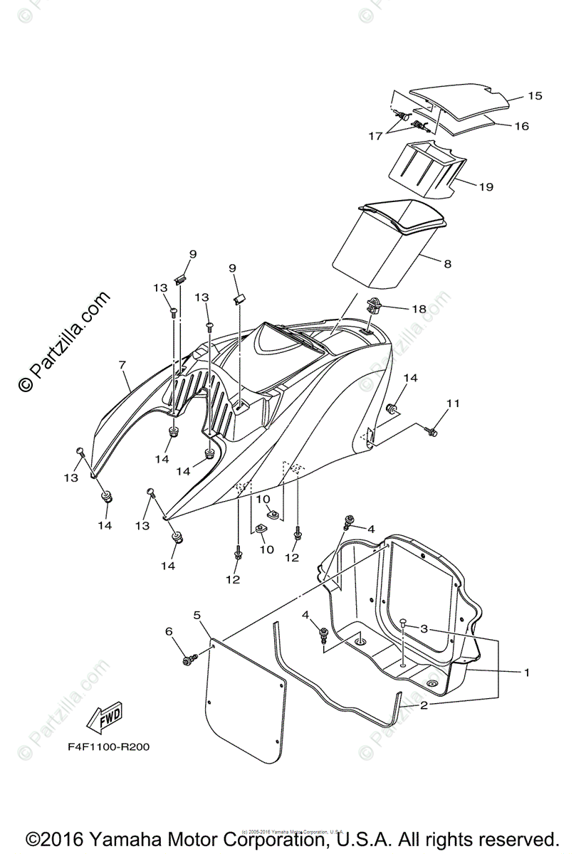 Yamaha Waverunner 2016 OEM Parts Diagram for Engine Hatch